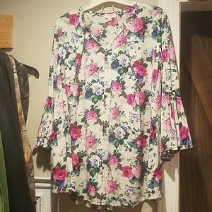 Umgee USA dress small floral bell long sleeve